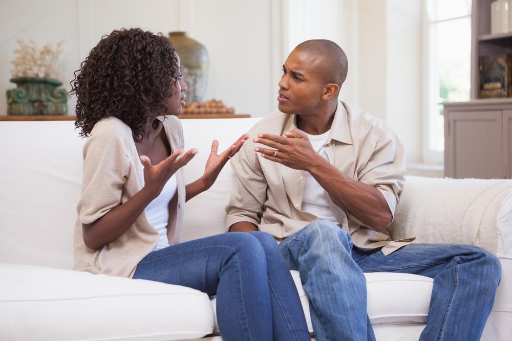 Black couple arguing situation familiar